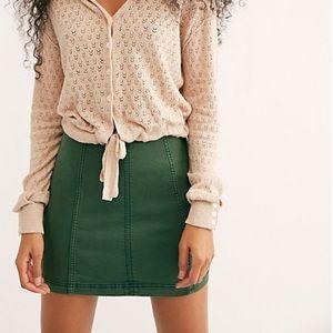 Free People •• Modern Femme Army green denim skirt